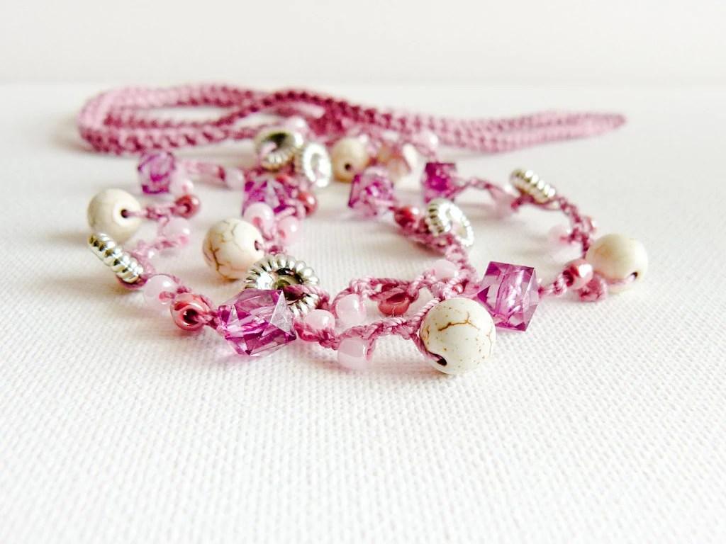 Black Friday Etsy Cyber Monday Pink pastel skinny headband bead crochet rope. Spring summer fashion rustic chic  avidteam - Mashacrochet