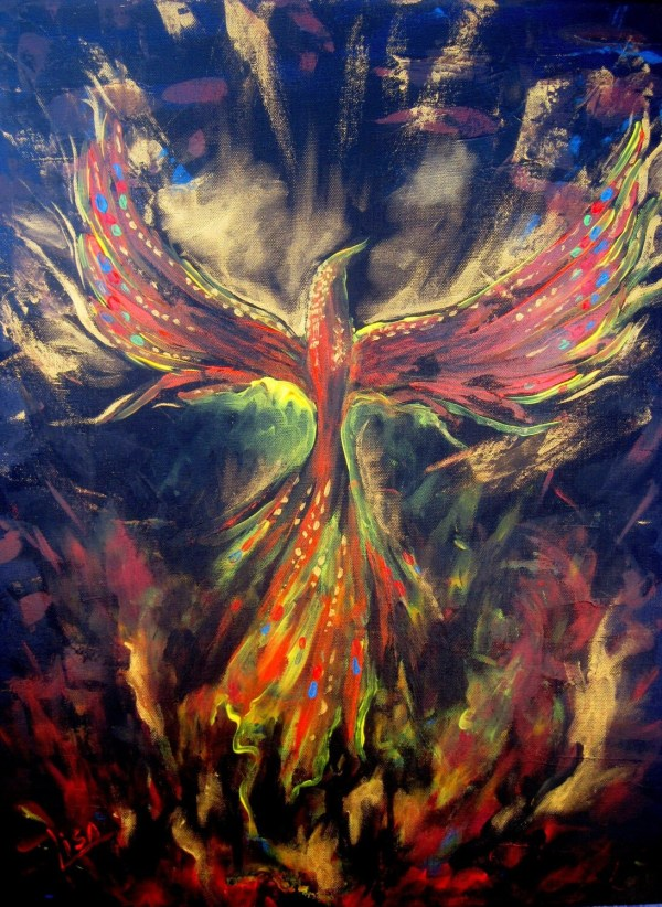 Original Painting Phoenix Mythical Sacred Fire Bird