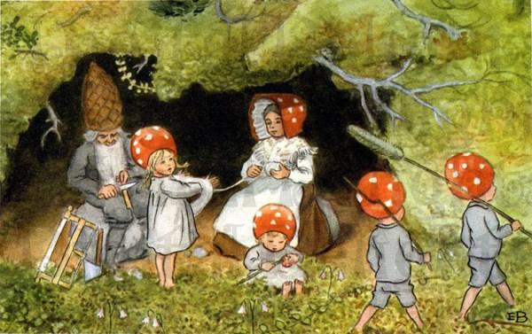 Red Capped Mushroom Gnomes Vintage Dandddigitaldelights