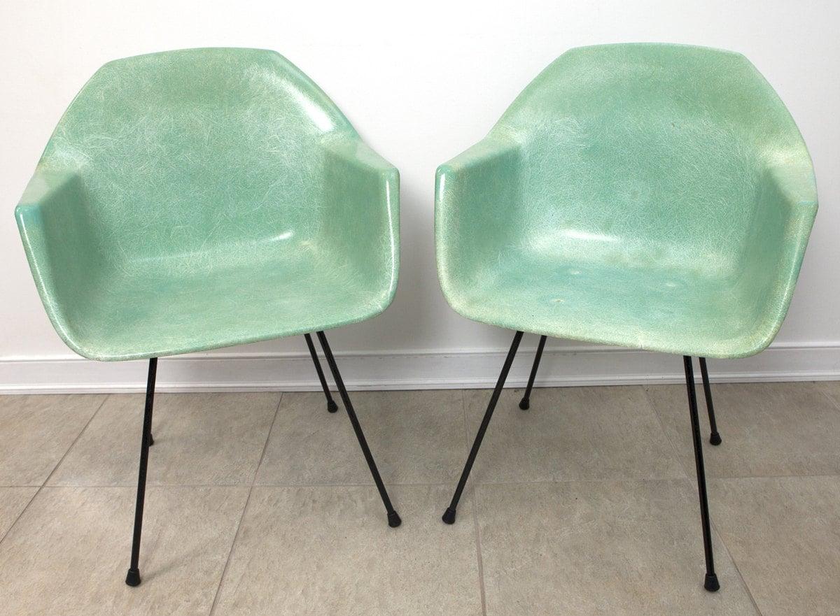 eames fiberglass chair metal stool herman miller style seafoam green arm chairs