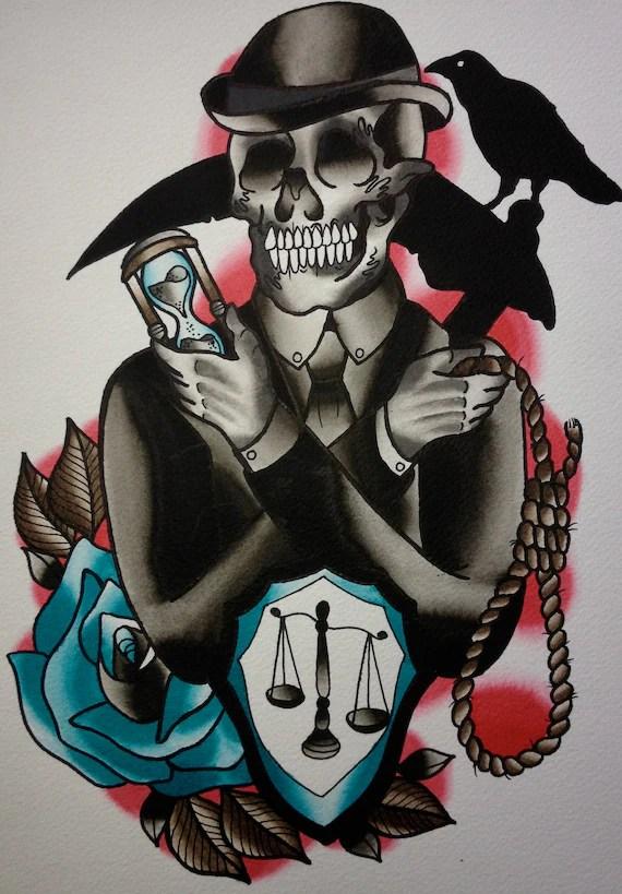 Items similar to Death Gentleman PRINT PRE ORDER crow scythe grim reaper rose noose