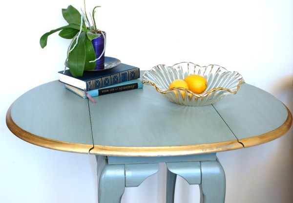 Small Table Oval Blue Side End 1920s