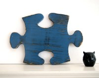 Puzzle Piece 2 in Navy Pine Wood Sign Wall Decor by ...