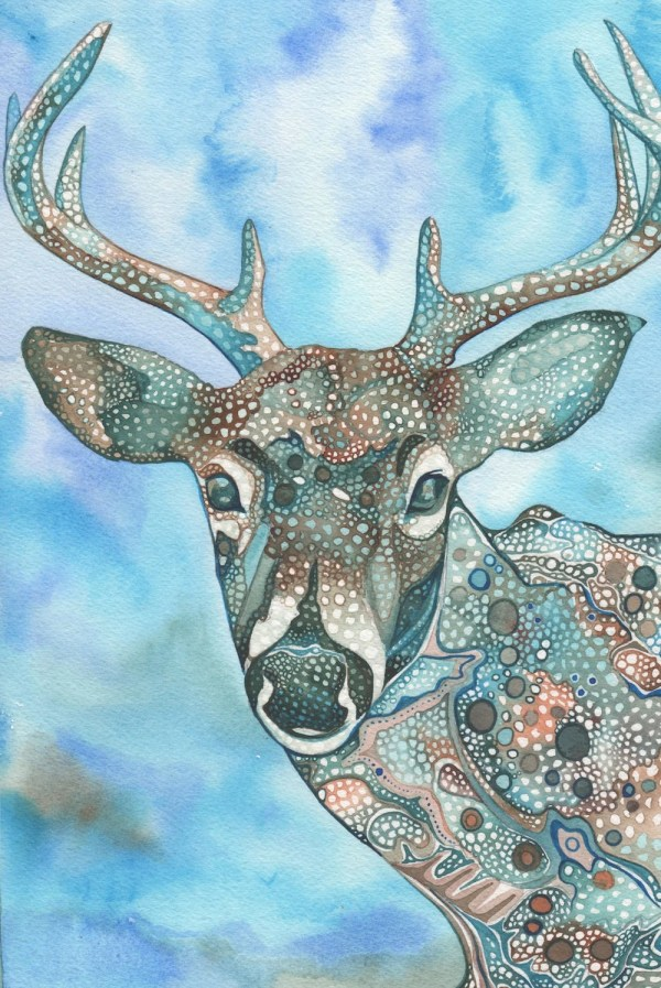 Whimsical Deer 5 X 7 Print Of Hand Painted Detailed