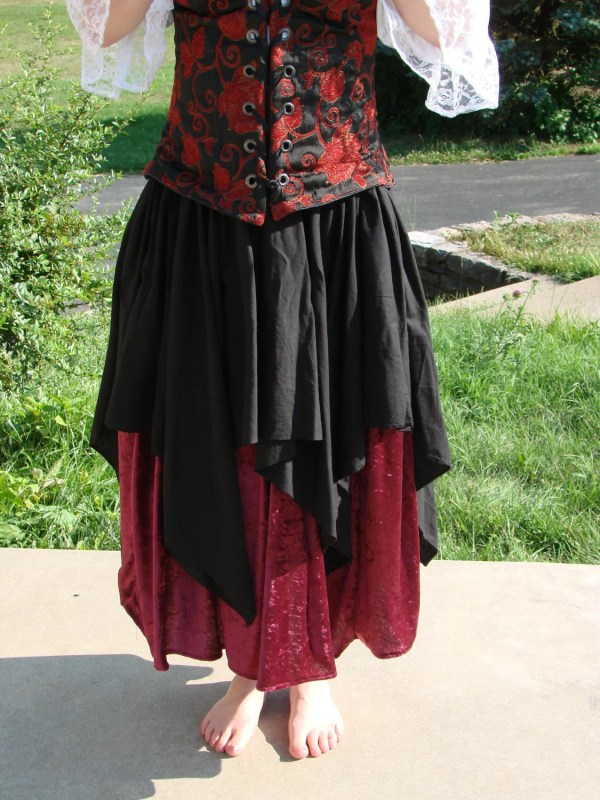 Renaissance Medieval Pirate Wench Top Petal Over Skirt