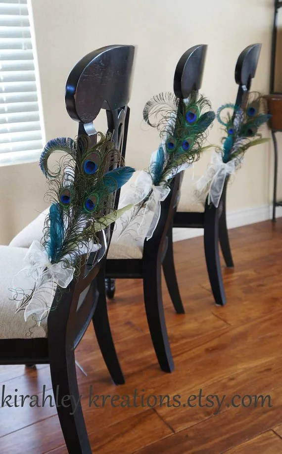 PEACOCK PEW BOWS Ceremony Aisle Decoration Bride Groom