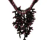 Beaded Hot Pink and Black Coral Necklace - MegansBeadedDesigns
