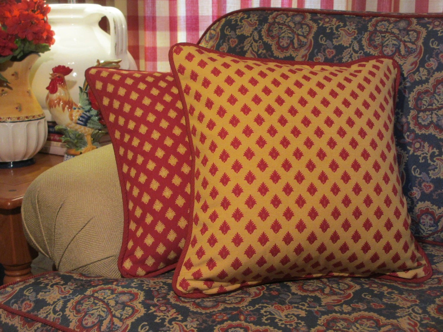 French Country Pillow Cover Red and Yellow Pillow Pompom