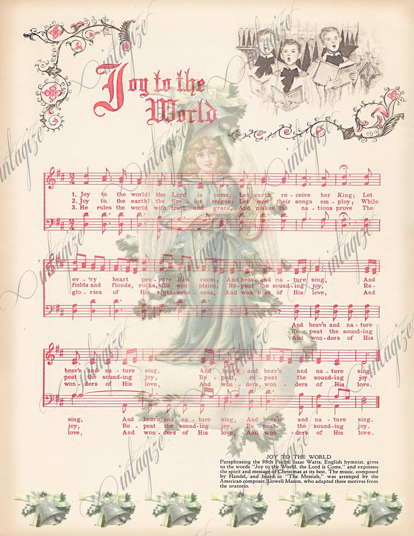 Instant Digital Download Joy To The World Printable Vintage