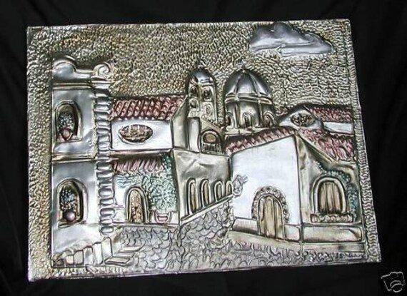 Mexican Tin Art Picture Metal Embossed Plaque Handcrafted