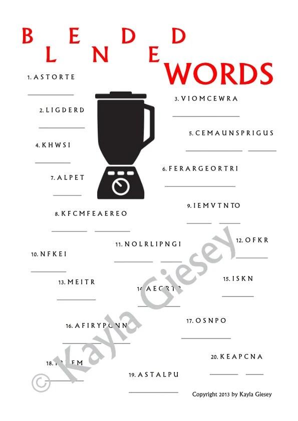 Bridal Shower Blended Words Game Card Download Kitchen