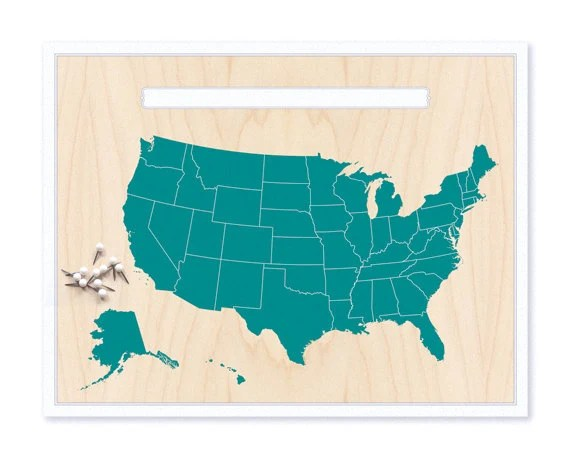 United States Map & Pin Set - Teal Blue - Cabin