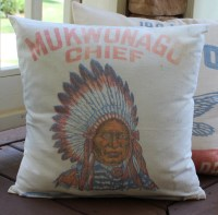 Vintage Feed Sack Pillow Mukwonago Chief Indian Chief