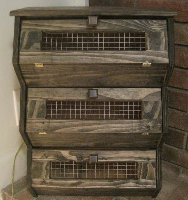Counter Top Rustic Vegetable Bin Storage Cupboard Primitive