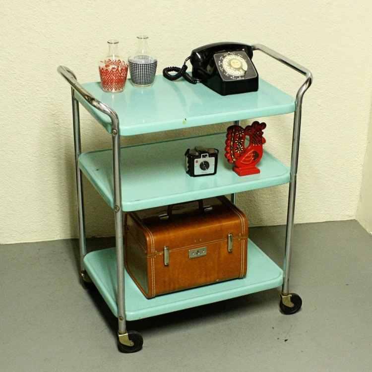 Vintage Metal Cart Serving Kitchen Cosco