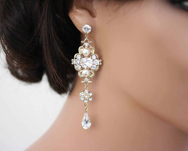 Chandelier Earrings Gold Bridal Earrings Swarovski White Ivory