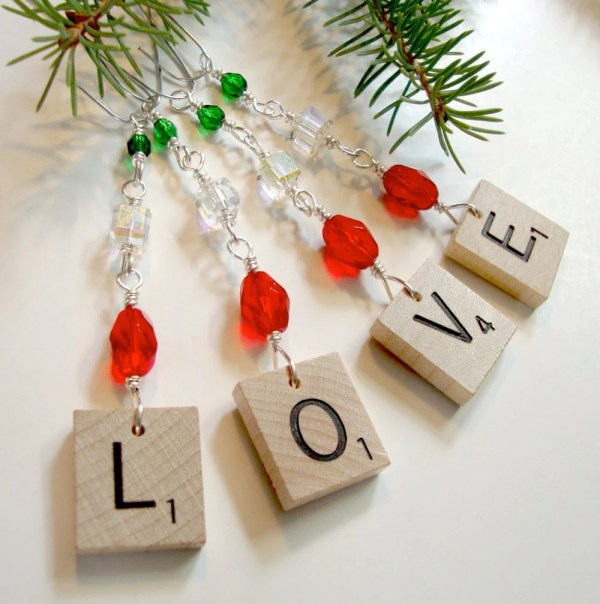 Scrabble Ornament Love Red Green Clear Beaded Holiday