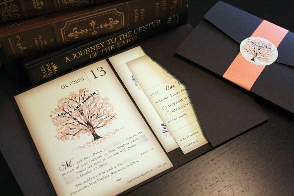 SAMPLE Fall Vintage Book Wedding Invitation by vohandmade