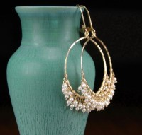 Pearl hoop earrings handmade 14k gold filled hoop earrings