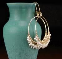 Pearl hoop earrings handmade 14k gold filled hoop earrings