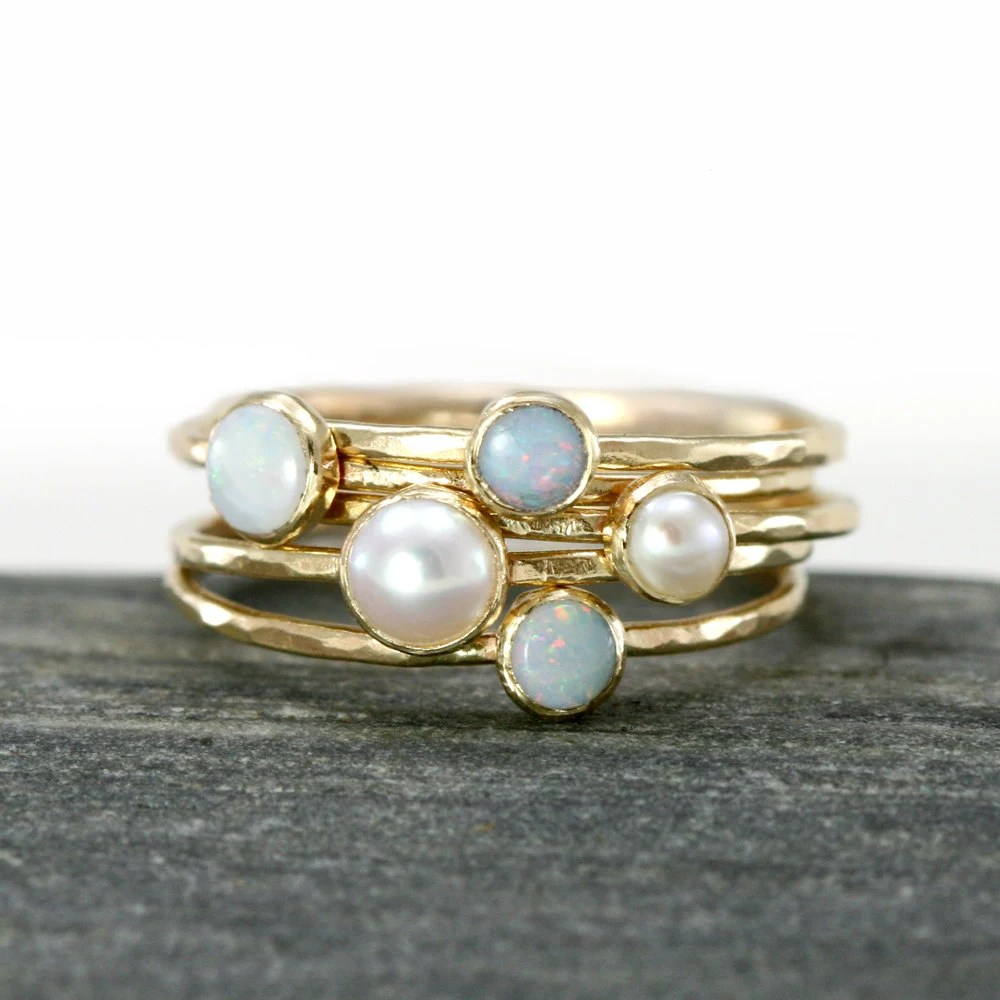 Opal and Akoya Pearl Stacking Rings in 14k Yellow Gold, Set of 5, Thin 14k Gold Stack Rings, White Austrailian Opal - ScarlettJewelry