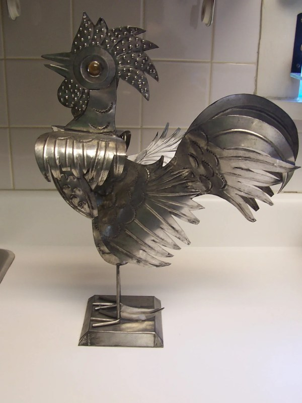 Tin Rooster Folk Art Sculpture Welded Metal Chicken