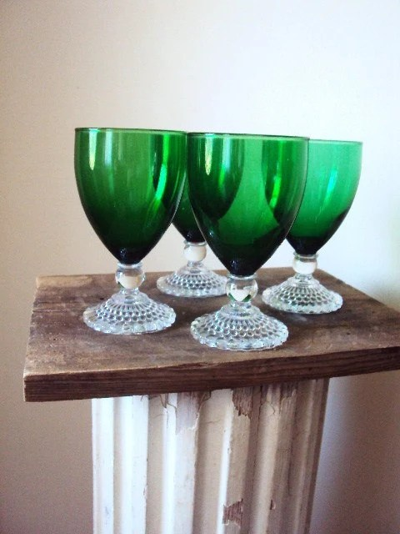 Vintage Green Glass Stemware Wine Glasses by