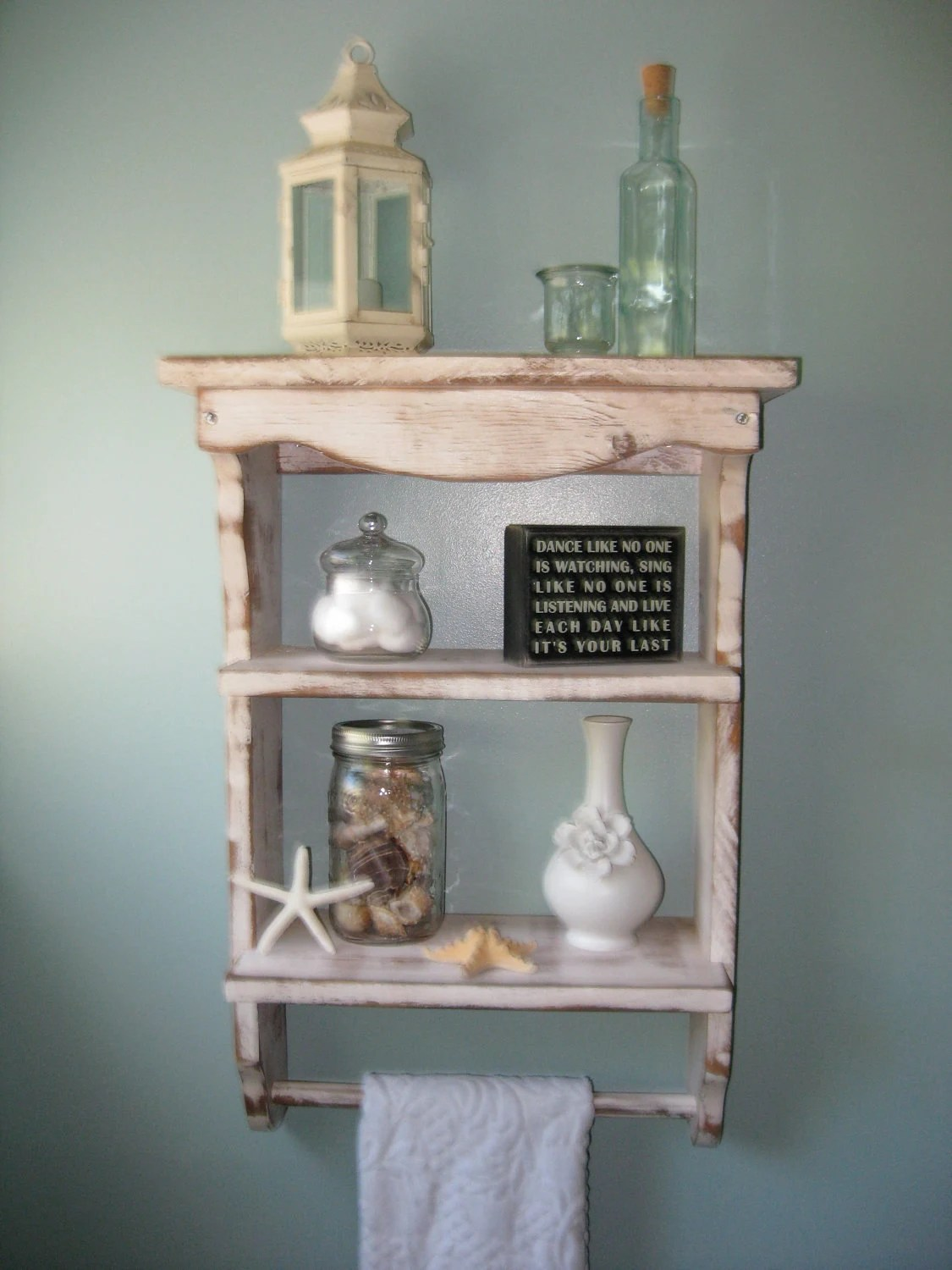 Wood Shelf Towel Holder Shabby Country Cottage French