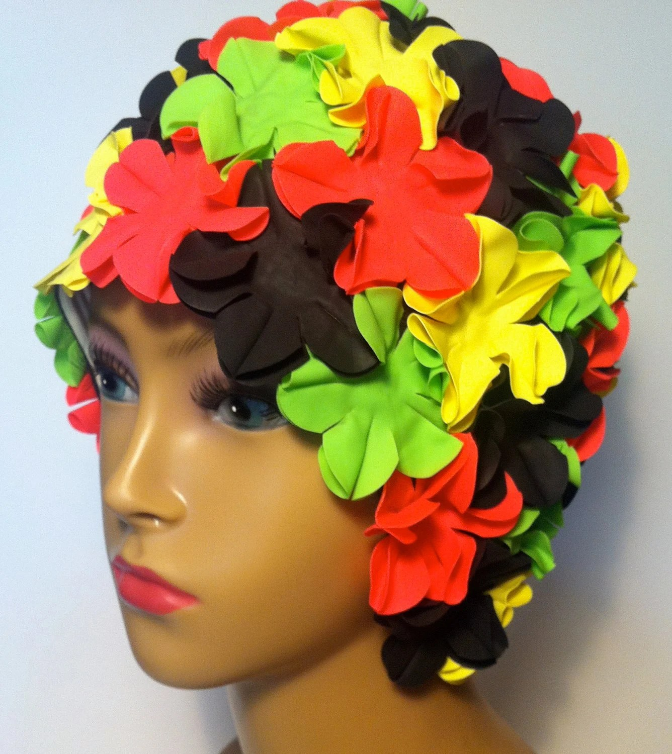Flower swimming cap - black, fucsia, yellow and green by beamalevich