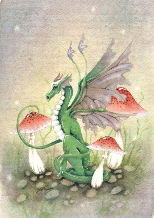 Dragon Art Original Watercolor Painting 6x9 Ryn