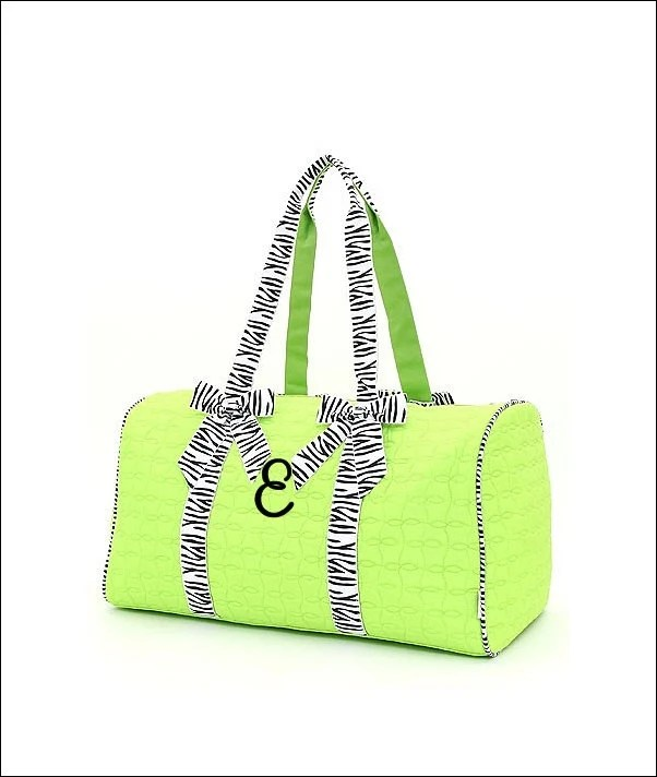 Personalized Quilted Duffel Bag - Lime Green with Zebra Print Trim - SiblingRivalryDesign