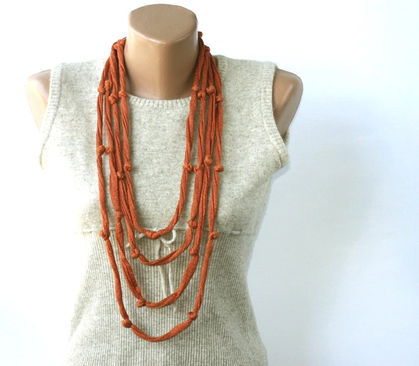 Summer Scarf Rust Skinny Cotton necklace Infinity with knots Summer fashion vegan - violasboutique
