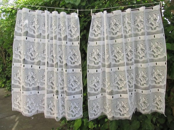 Vintage Cafe Curtain French Panels Lace Hatchedinfrance