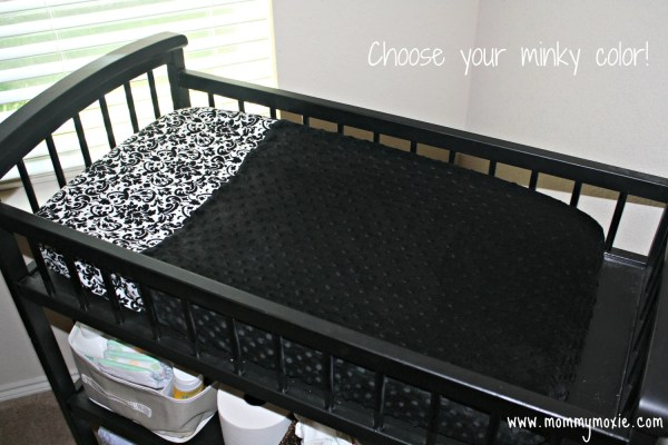 Damask Changing Table Pad Cover In Black And White