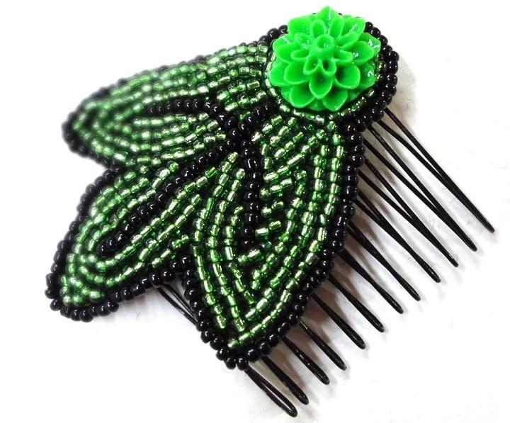 Beaded Green Hair Comb - Leaf Design Handmade Hair Accessory - MegansBeadedDesigns