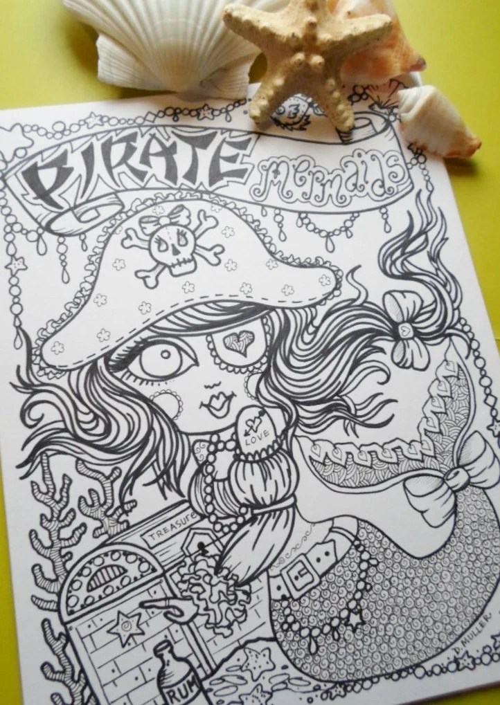 naughty pirate mermaids coloring book for you to