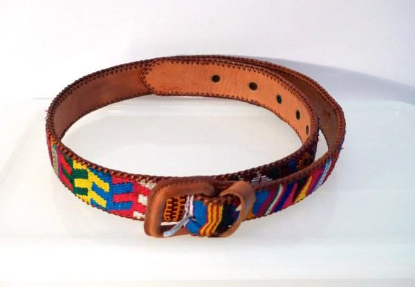 Guatemala Woven Leather Belt Waist 30 Multi Color