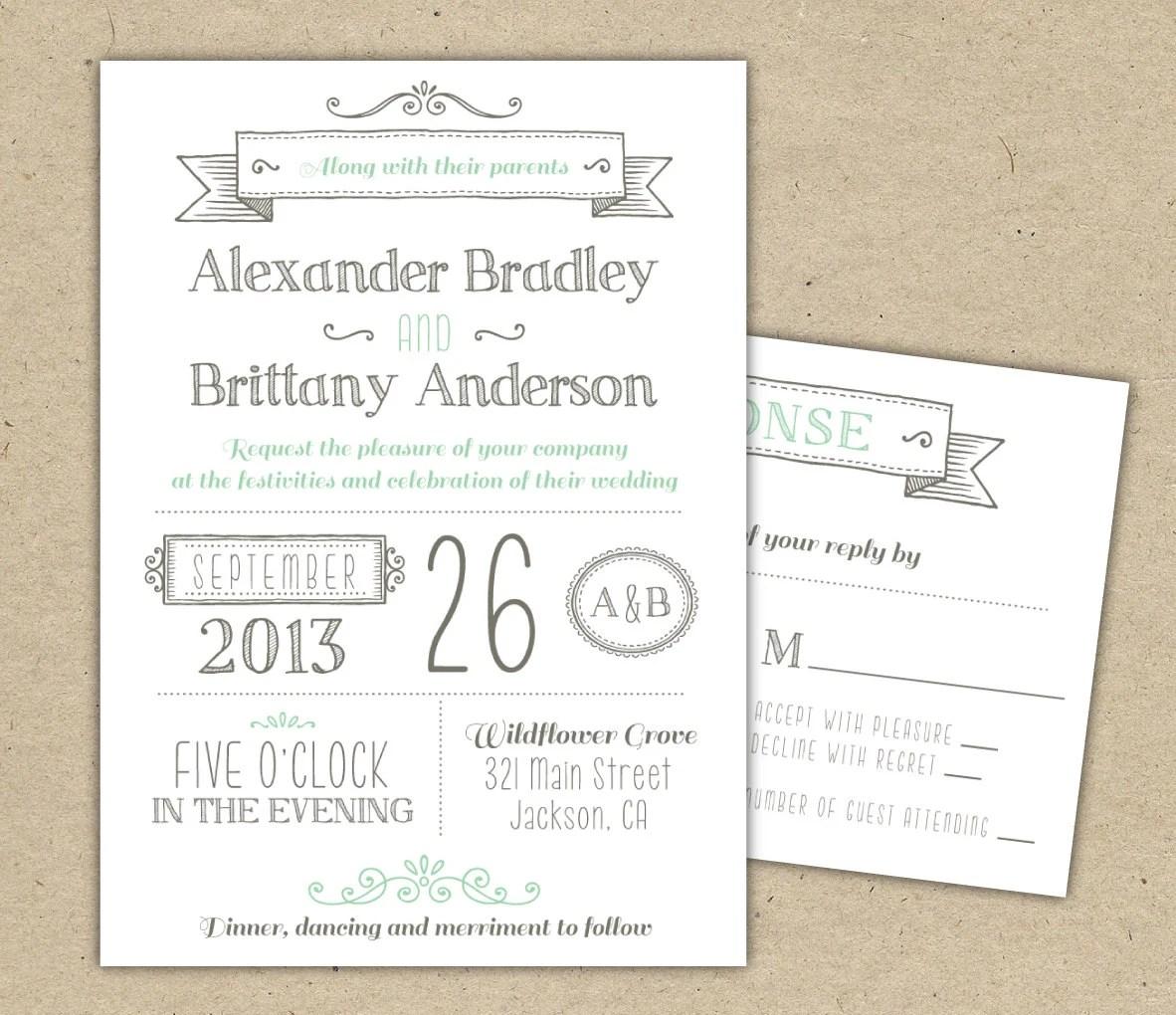 Wedding Invitation 1041 SAMPLE Modern invitation template