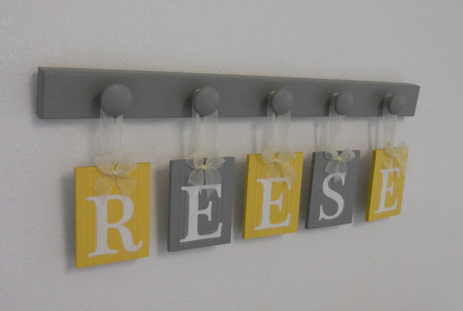 Yellow Grey Nursery Wooden Wall Letters Sign Set By