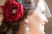 scarlet red bridal hair accessories