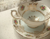 vintage blue and white bone china tea cup and saucer set, 1950's Royal Grafton English tea set, gold filigree