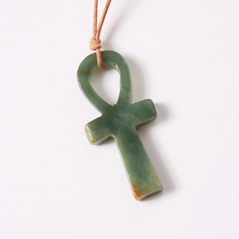 Stone Pendant Necklace Ankh Egyptian Ankh Charm Green Jade