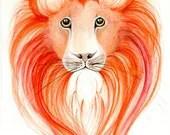 Lion Painting My Protector Original Artwork, Watercolor Painting, Fine Art - ABitofWhimsyArt