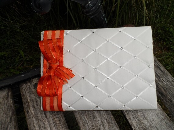 Fall Wedding Guest Book White Orange Rhinestones by JCBees