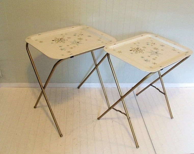 Vintage Metal Tray Tables Set of 2 - Retro Hand Painted ToleWare Collection - BoHo Bistro Service - DivineOrders