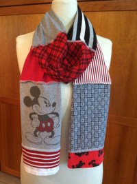UPCYCLED t-shirt scarf... Mickey Mouse... Disney... red black