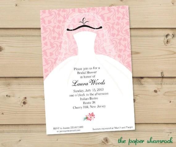 Bridal Shower Invitation Wedding Shower Invitations  Dress on Hanger by The Paper Shamrock