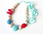 SALE-Nursing Necklace/Teething Necklace-Mint Red Blue - Simplyacircle