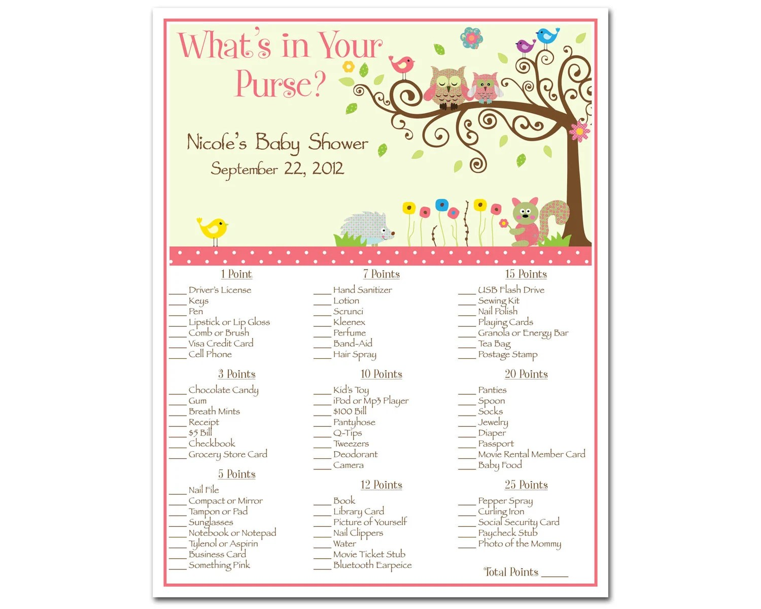 Printable Whimsey Owl Whimsical Girl Baby Shower By Bdesigns4you