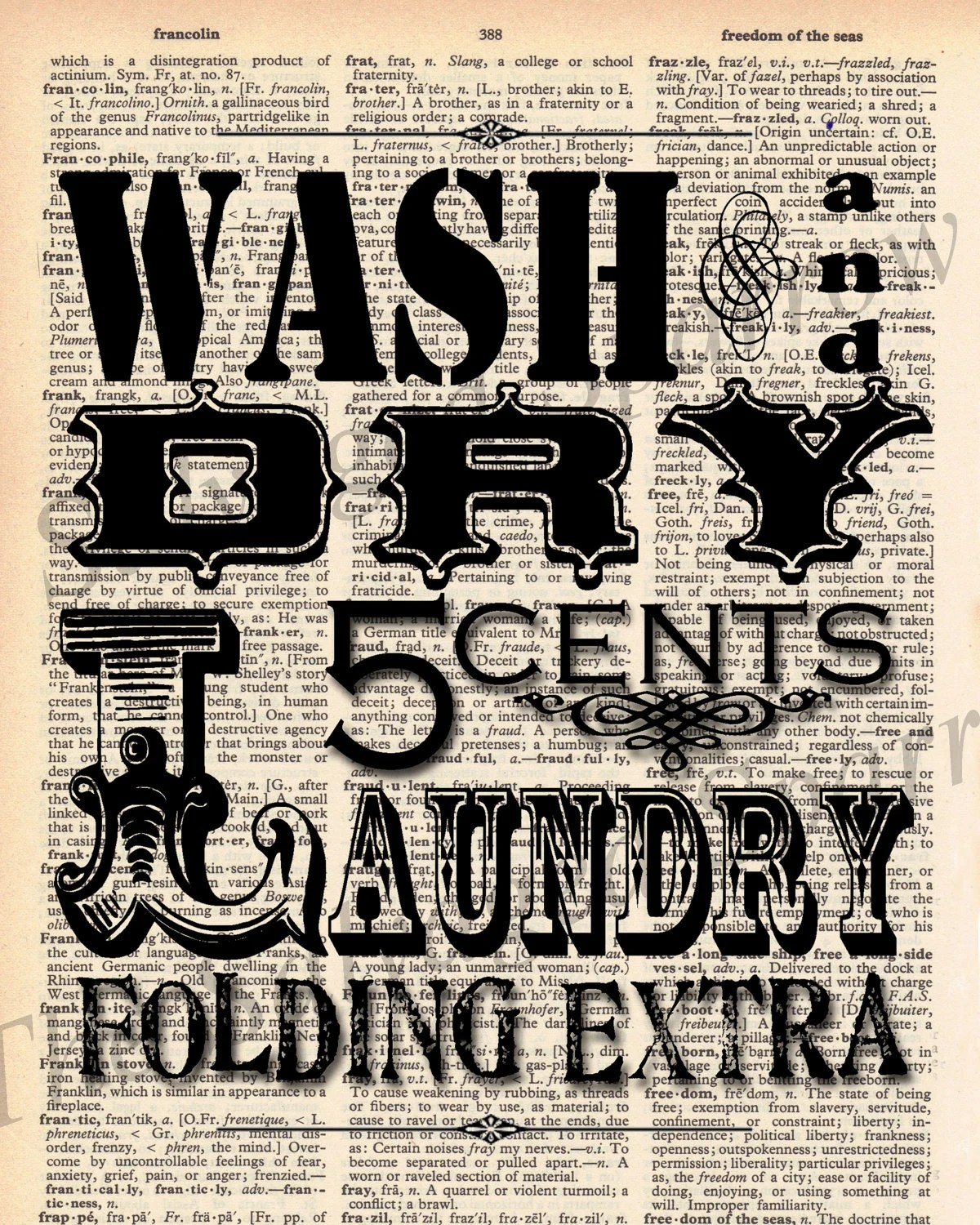 Vintage Dictionary Laundry Room Print By Thesalvagedsparrow